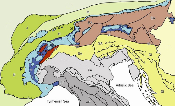 Figura 4 carta geologico strutturale dell'arco alpino occidentale